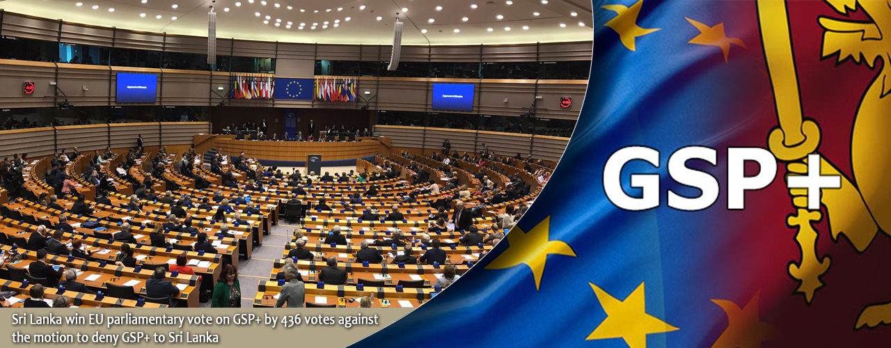 Sri Lanka win EU parliamentary vote on GSP+ by 436 votes against the motion to deny GSP+ to Sri Lanka