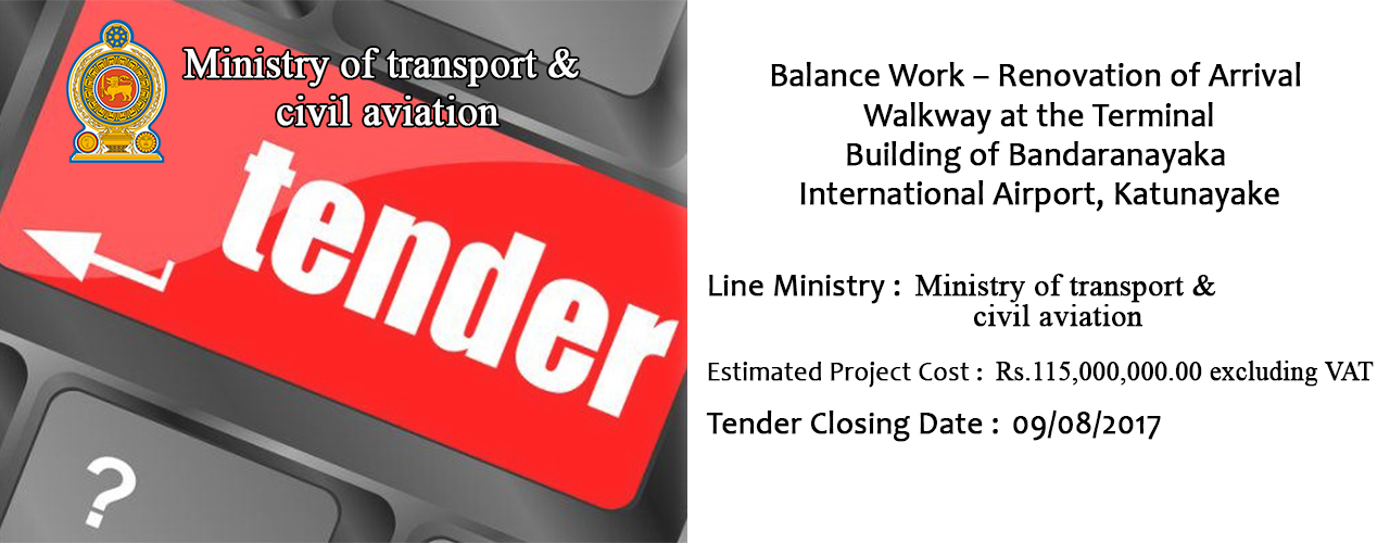 Balance Work – Renovation of Arrival Walkway at the Terminal Building of Bandaranayaka International Airport, Katunayake