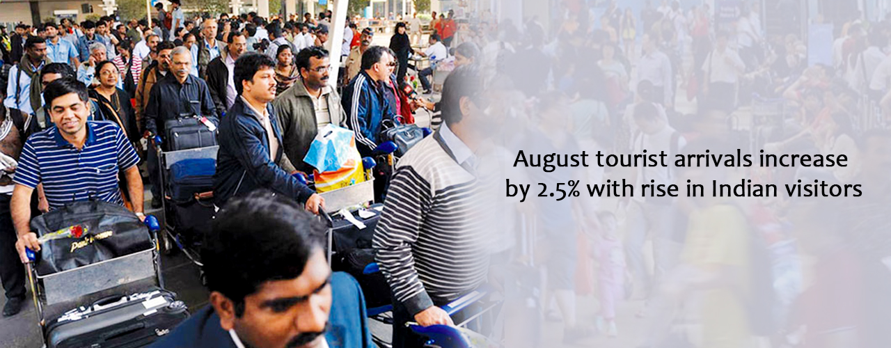 August tourist arrivals increase by 2.5% with rise in Indian visitors