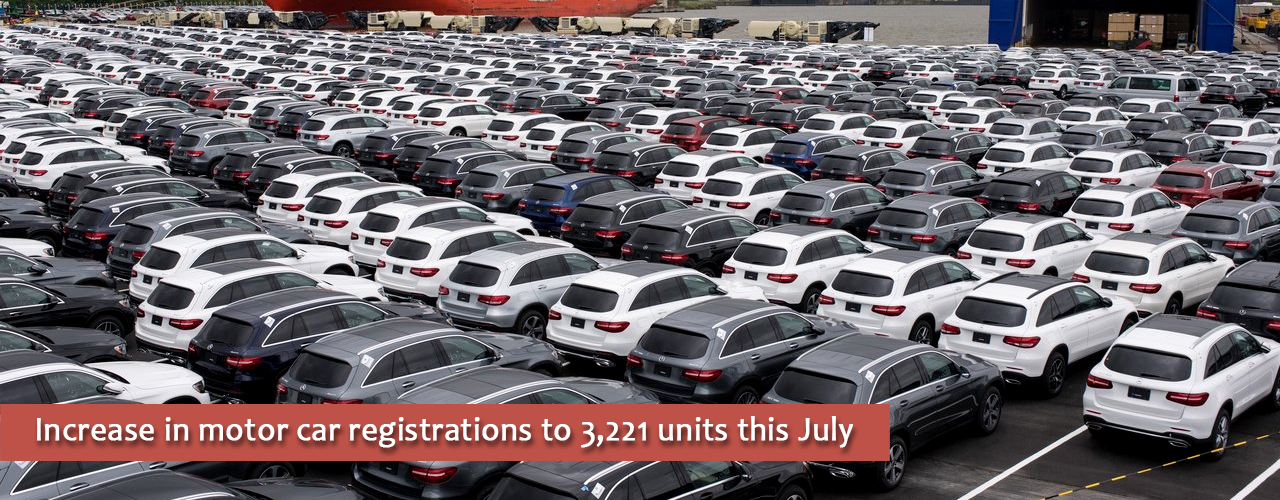 Increase in motor car registrations to 3,221 units this July
