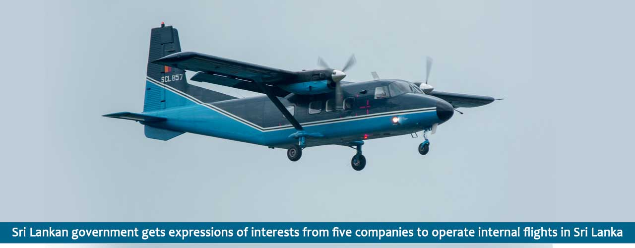 Sri Lankan government gets expressions of interests from five companies to operate internal flights in Sri Lanka