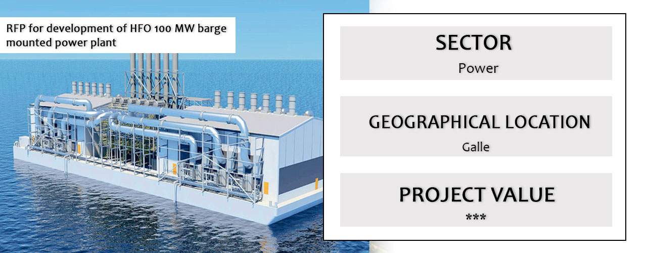 RFP for development of HFO 100 MW barge mounted power plant