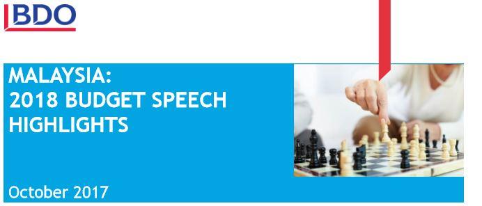MALAYSIA:  2018 BUDGET SPEECH HIGHLIGHTS