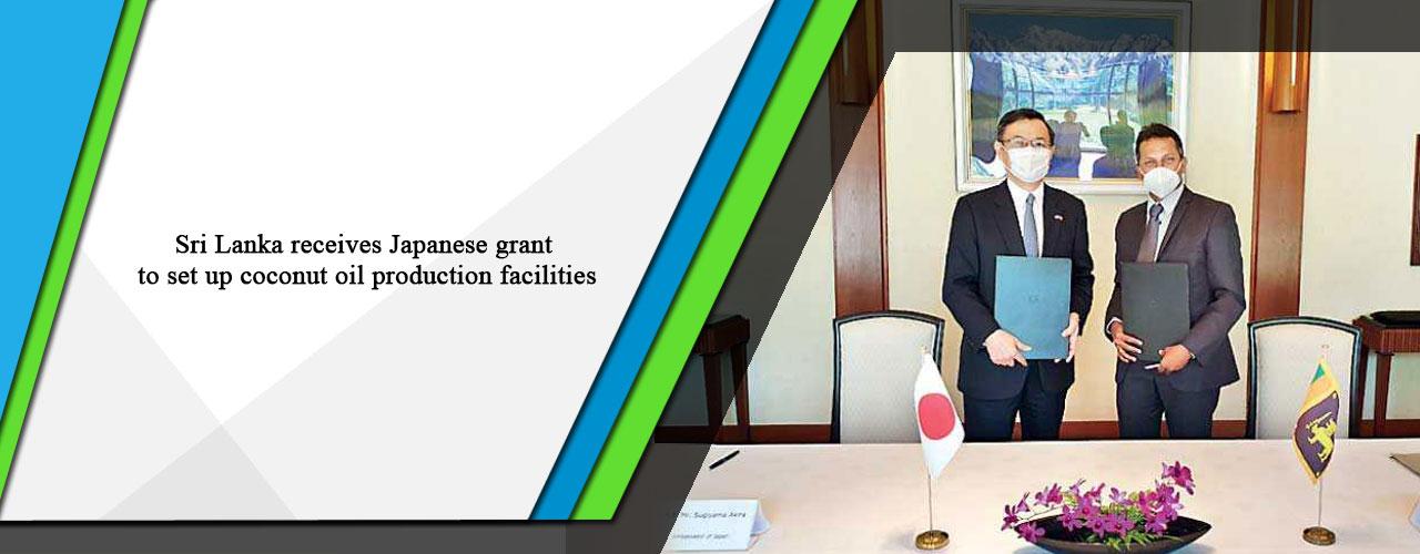 Sri Lanka receives Japanese grant to set up coconut oil production facilities